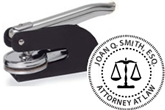 Order custom attorney embosser with scales logo. Makes a great gift. Fast Shipping