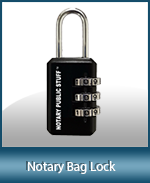 Keep your supplies secure by securing your notary supplies bag with our combination notary lock. Fast shipping.