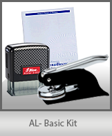 This affordable notary supply kit for Alabama contains the basic required notary stamps.