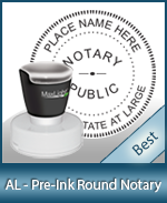 This High-quality Round Alabama Notary stamp gives a clean, clear impression every time.