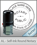 An affordable round self-inking notary stamp for Alabama can be purchased quickly right here.