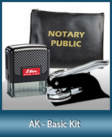This affordable notary supply kit for Alaska contains the basic required notary stamps.