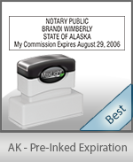 The Highest quality notary commission stamp for Alaska.