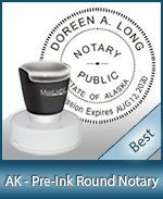 This High-quality Round Alaska Notary stamp gives a clean, clear impression every time.