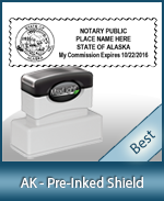 A High quality state emblem notary stamp with a stylish border for Alaska.