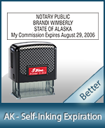 This durable, quality Notary commission stamp for Alaska is available right here. Fast shipping!