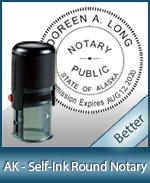 An affordable round self-inking notary stamp for Alaska can be purchased quickly right here.
