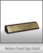 Designer Notary Desk Sign - Gold