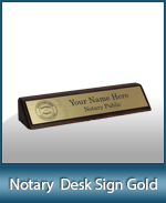 DNDS-GD - Designer Notary Desk Sign - Gold