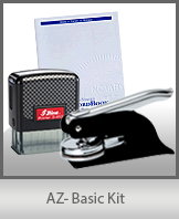 This affordable notary supply kit for Arizona contains the basic required notary stamps.