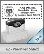 A High quality state emblem notary stamp with a stylish border for Arizona.