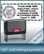 This durable, quality Notary commission stamp for Arizona is available right here. Fast shipping!