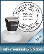 This High-quality Round Arkansas Notary stamp gives a clean, clear impression every time.