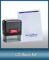 This affordable notary supply kit for Colorado contains the basic required notary stamps.