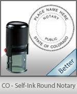 An affordable round self-inking notary stamp for Colorado can be purchased quickly right here.