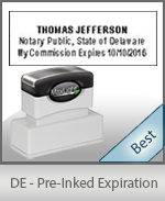 The Highest quality notary commission stamp for Delaware.