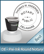This High-quality Round Delaware Notary stamp gives a clean, clear impression every time.