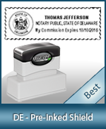 A High quality state emblem notary stamp with a stylish border for Delaware.
