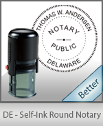 An affordable round self-inking notary stamp for Delaware can be purchased quickly right here.