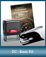 This affordable notary supply kit for Washington DC contains the basic required notary stamps.