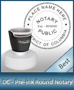 This High-quality Round Washington DC Notary stamp gives a clean, clear impression every time.