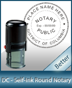 An affordable round self-inking notary stamp for Washington DC can be purchased quickly right here.