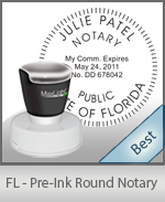 This High-quality Round Florida Notary stamp gives a clean, clear impression every time.