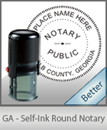 An affordable round self-inking notary stamp for Georgia can be purchased quickly right here.