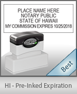 The Highest quality notary commission stamp for Hawaii.