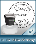 This High-quality Round Hawaii Notary stamp gives a clean, clear impression every time.