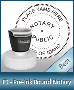 This High-quality Round Idaho Notary stamp gives a clean, clear impression every time.