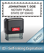 This durable, quality Notary commission stamp for Idaho is available right here. Fast shipping!
