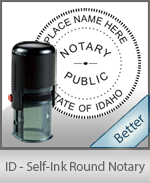 An affordable round self-inking notary stamp for Idaho can be purchased quickly right here.