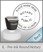 This High-quality Round Illinois Notary stamp gives a clean, clear impression every time.