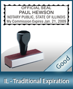 IL-COMM-T - Illinois Notary Traditional Expiration Stamp
