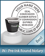 This High-quality Round Indiana Notary stamp gives a clean, clear impression every time.