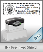 A High quality state emblem notary stamp with a stylish border for Indiana.