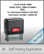 This durable, quality Notary commission stamp for Indiana is available right here. Fast shipping!