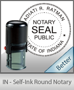 An affordable round self-inking notary stamp for Indiana can be purchased quickly right here.