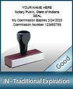 IN-COMM-T - Indiana Notary Traditional Expiration Stamp