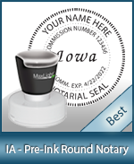 This High-quality Round Iowa Notary stamp gives a clean, clear impression every time.