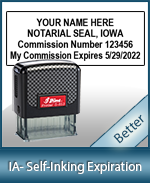 This durable, quality Notary commission stamp for Iowa is available right here. Fast shipping!