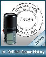 An affordable round self-inking notary stamp for Iowa can be purchased quickly right here.