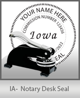 This sturdy Iowa Notary Desk Seal is made of steel construction and built to last.
