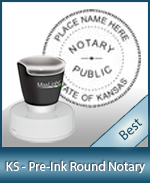 This High-quality Round Kansas Notary stamp gives a clean, clear impression every time.