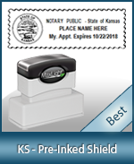 A High quality state emblem notary stamp with a stylish border for Kansas.