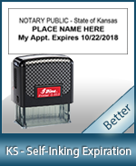 This durable, quality Notary commission stamp for Kansas is available right here. Fast shipping!