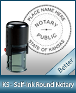 An affordable round self-inking notary stamp for Kansas can be purchased quickly right here.