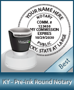 This High-quality Round Kentucky Notary stamp gives a clean, clear impression every time.