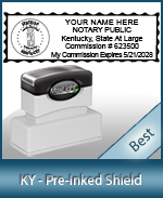 A High quality state emblem notary stamp with a stylish border for Kentucky.